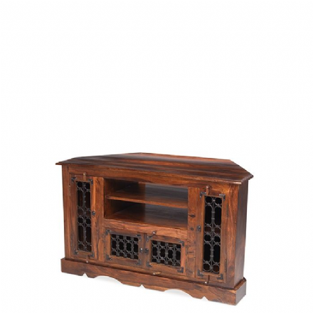 Jali Sheesham Wood Corner TV Cabinet